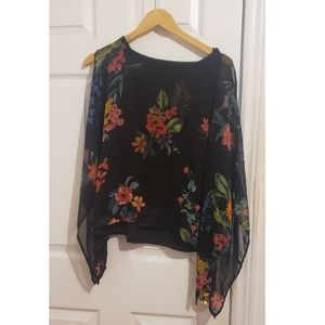 Floral Poncho Top